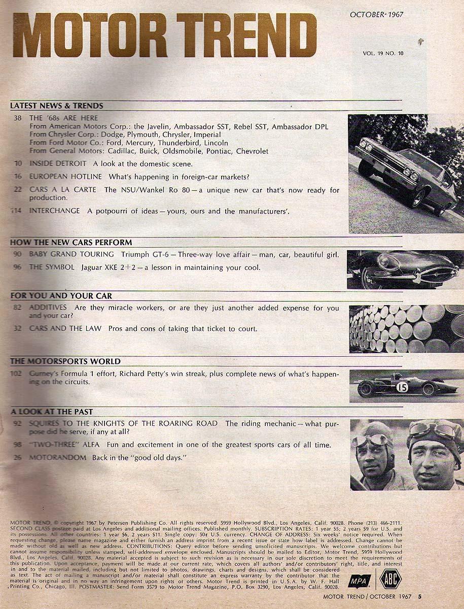 Motor Trend October 1967 Road Runner Torino Charger R/T GTO