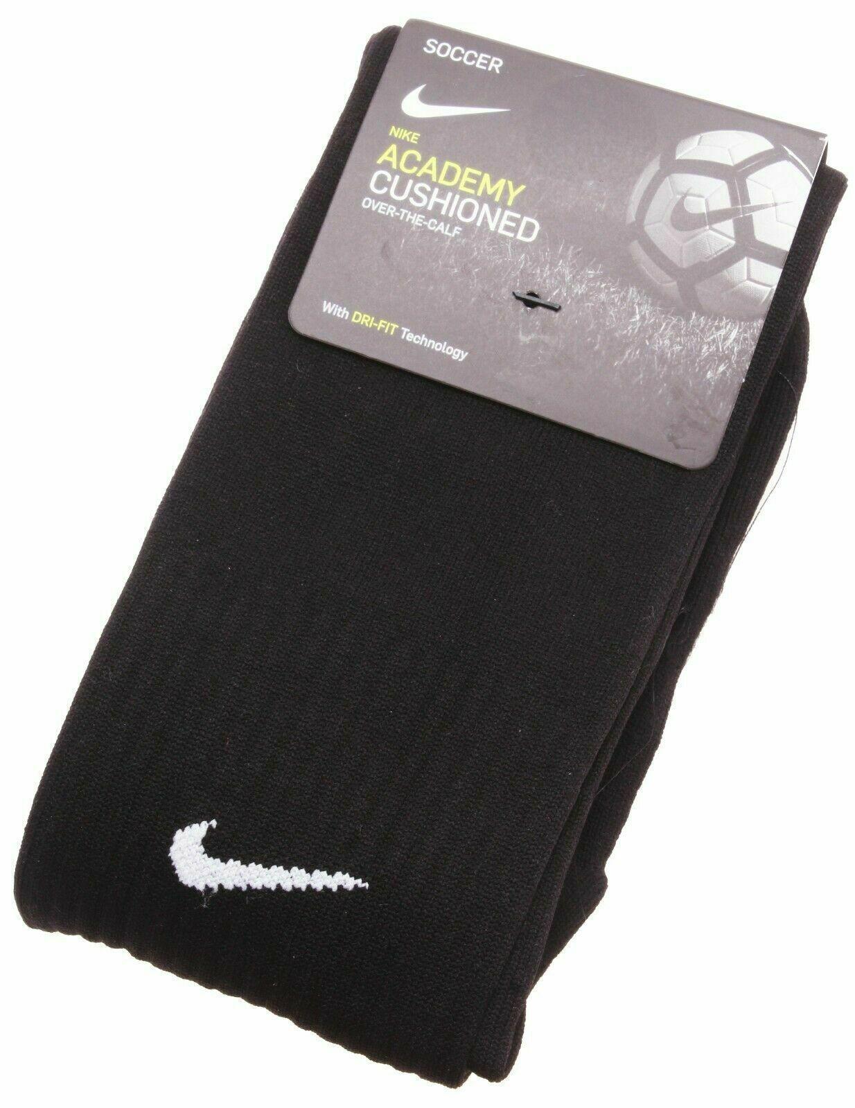 NIKE Academy Cushioned Soccer Dri-Fit OTC Socks size SM and M (Black)