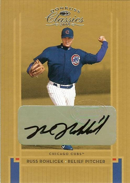2005 DONRUSS AUTOGRAPH CHICAGO CUBS RUSS ROHOICEK SERIAL # 1014/1200