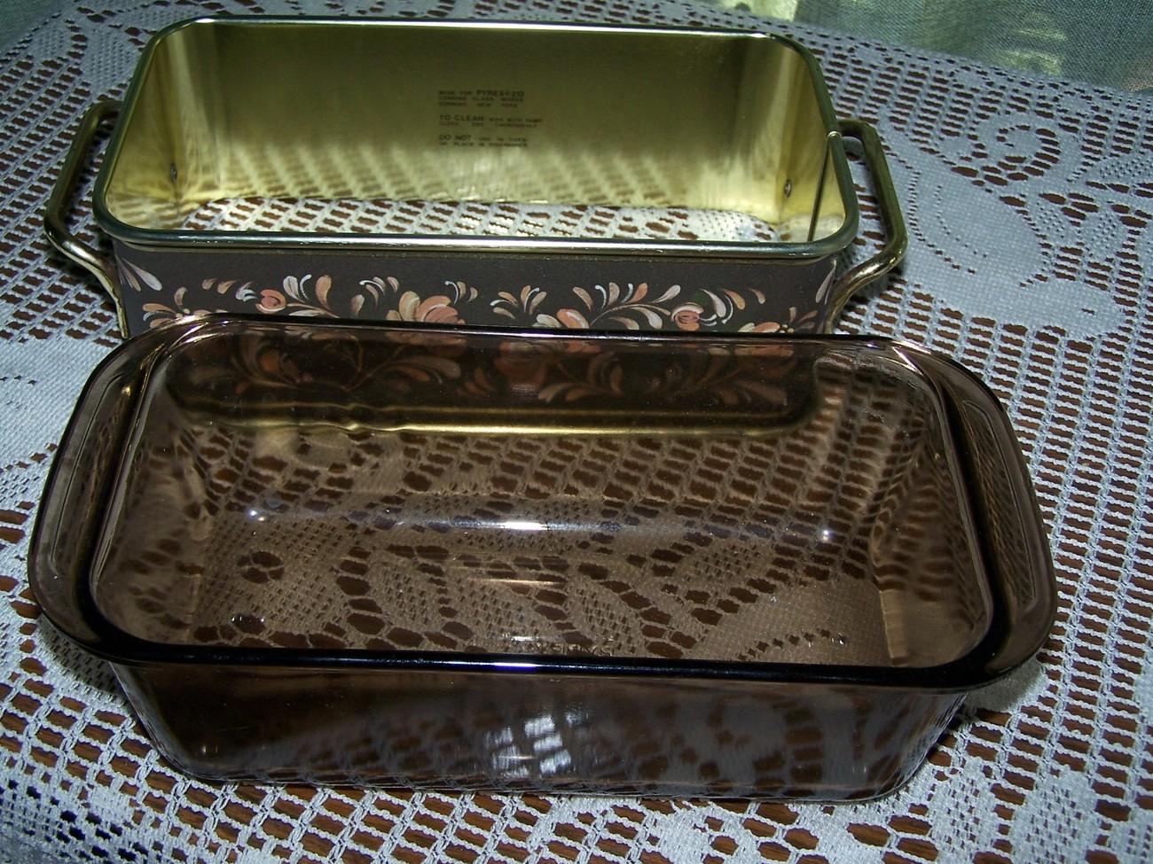 Vintage Pyrex Loaf Pan & Flora Server
