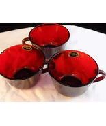Set of 3 Vintage ROYAL RUBY Red Glass COFFEE Mug ANCHOR HOCKING red glas... - $9.49