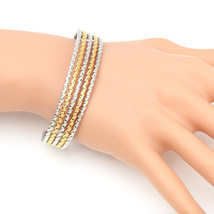 Gold & Silver Tone (Two-Tone) Twisted Bangle Bracelet Cuff- United Elegance - $17.99
