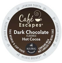 Cafe Escapes Dark Chocolate Cocoa, 48 count Kcups , FREE SHIPPING  - $38.99
