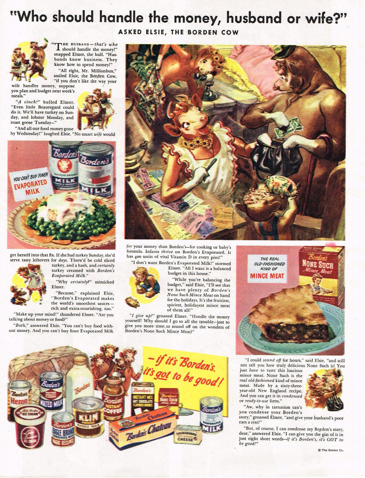 Vintage 1944 Magazine Ad Borden's Evaporated Milk & None Such Mince Meat - $5.93