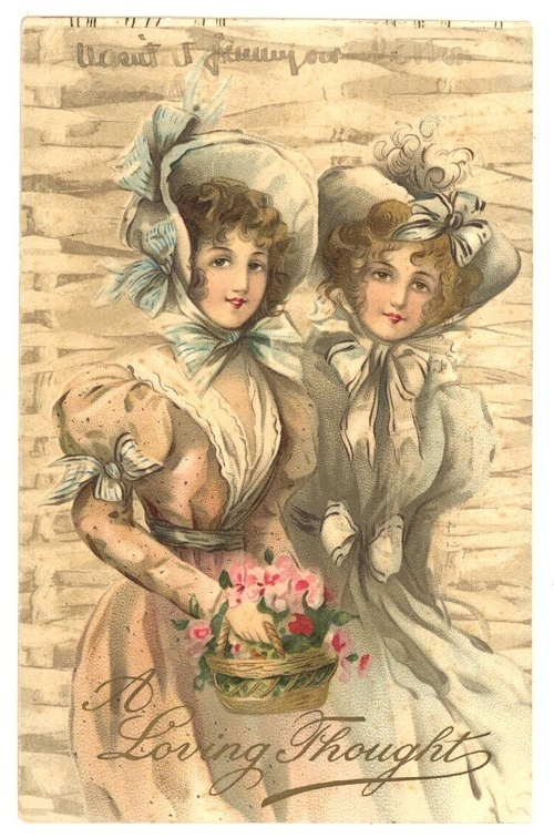 Gibson Girls vintage postcard greetingValentine basket bonnet
