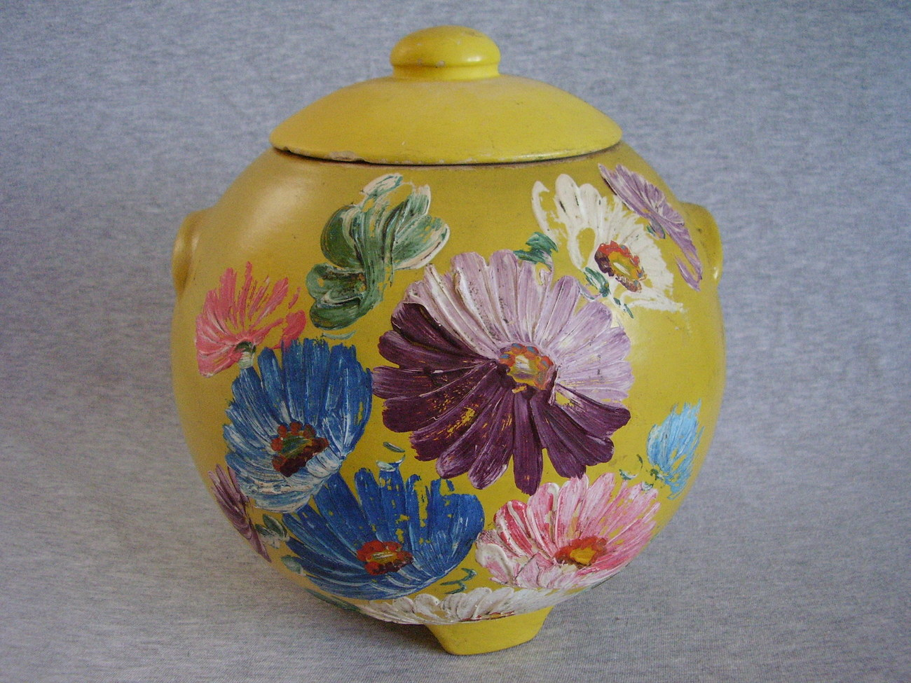 Vintage Ransburg Stoneware Cookie Jar Yellow Asters Footed