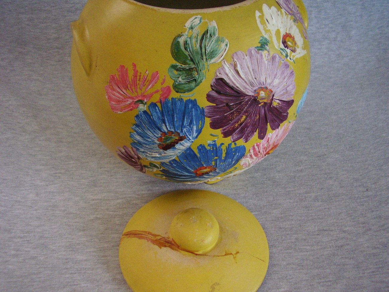 Vintage Ransburg Stoneware Cookie Jar Yellow Asters Footed