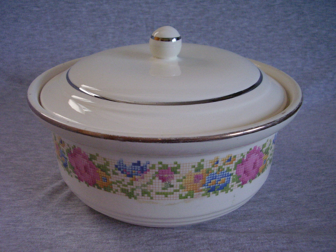 Harker Petit Point Cross Stitch Floral Covered Casserole