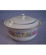 Harker Petit Point Cross Stitch Floral Covered Casserole  - $58.00