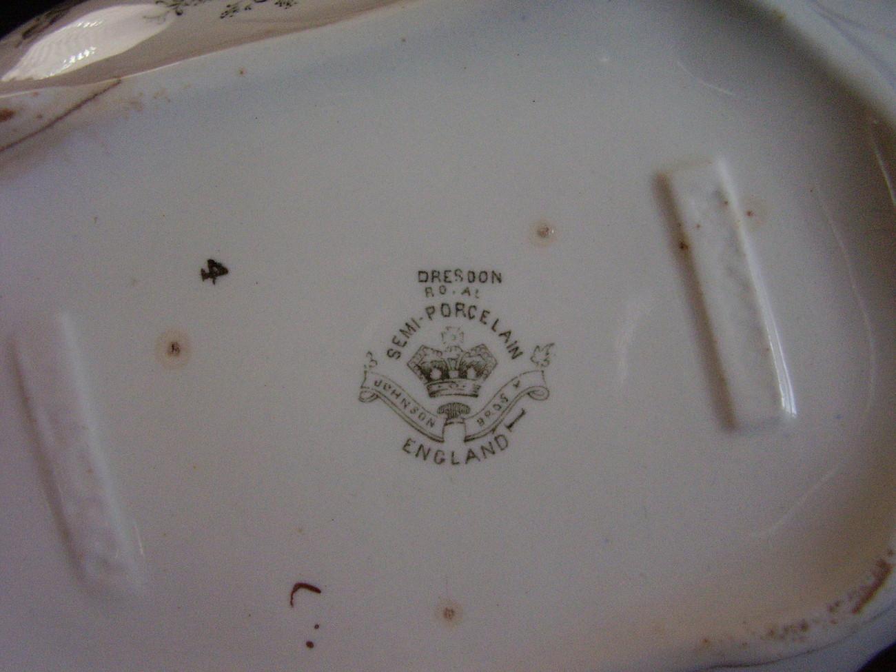Dresdon SemiPorcelain Transferware Johnson Bros Covered Dish