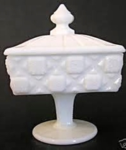 Westmoreland Vintage Milk Glass Quilt Candy Dish With Lid, Circa 1950's - $32.95