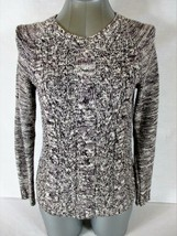 SONOMA womens Sz XS  L/S black white CABLE KNIT PULLOVER sweater  (A3) - $12.09