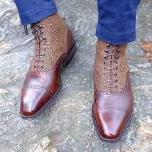 Handmade Men's Brown Two Tone Leather & Tweed High Ankle Lace Up Boots image 3