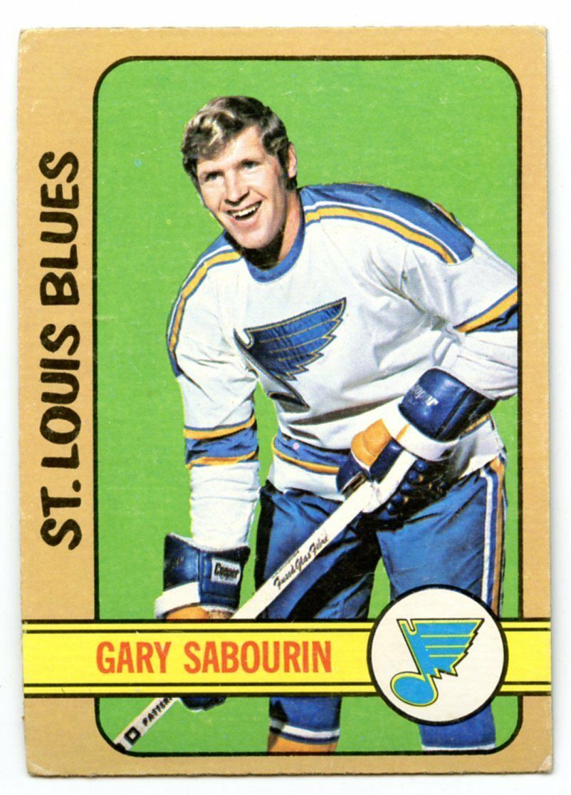 1972/73 Topps Hockey BLANK BACK Error Gary Sabourin Blues