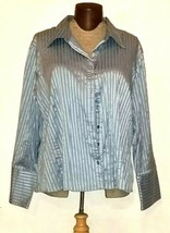 Cato Women's Button Down Blue Striped Long Sleeve Shirt Plus Size 26/28 - $9.99