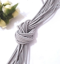 2mm / 2.5mm wide - 5yd - 10yd Silver Gray Elastic Thread Round Elastic C... - $5.99+