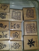 """2001 Stampin Up """"YEAR ROUND CHEER"""" Set - Retired - Mounted  Rubber Stamps - $14.00"""