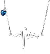 AOBOCO 925 Sterling Silver Heartbeat Pendant Necklace with Swarovski Hea... - $103.33
