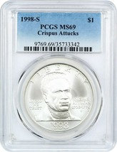 1998-S Black Patriots $1 PCGS MS69 - Modern Commemorative Silver Dollar - $82.45