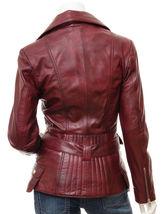 QASTAN Women's New Stylish Fashioned Burgundy Biker Leather Jacket QWJ42E image 3
