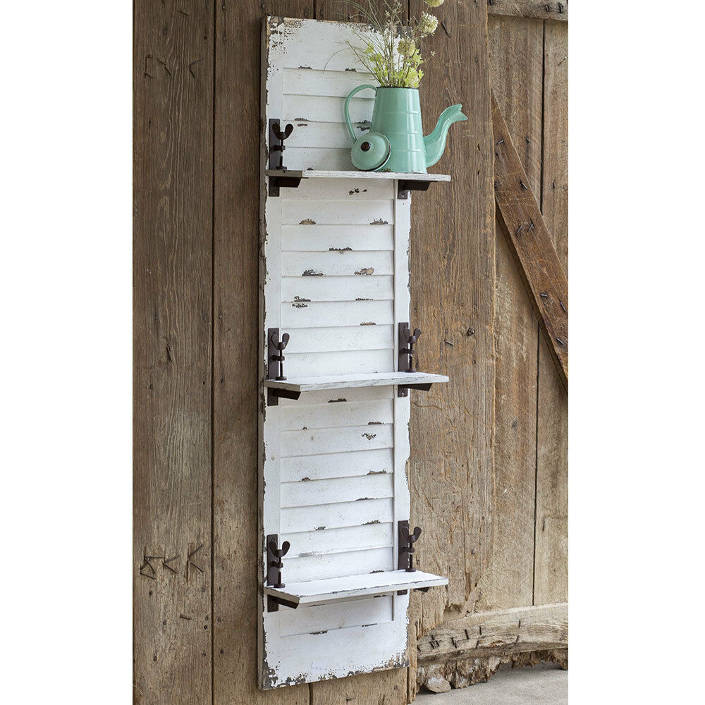 Primary image for Hanging Wall Shelf Rustic Style Decorative Window Shutter Hooks White Wash New