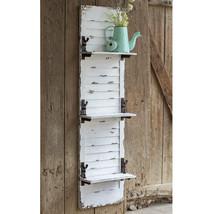 Hanging Wall Shelf Rustic Style Decorative Window Shutter Hooks White Wash New - $188.05