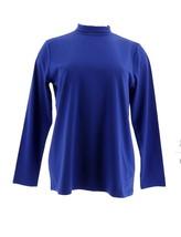 Bob Mackie Long Slv Mock Neck Knit Top Royal Blue L NEW A282198 - $26.71