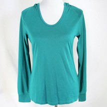 Layer 8 Performance Hooded Athletic Top Womens M Green Long Sleeve Qwick... - $17.99