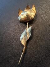 Vintage Goldtone Flower Bent Leaf Coro Brooch Pin - $9.85