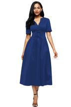 Blue Split Neck Short Sleeve Midi Dress with Bowknots - $15.78