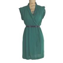 Anthropologie Dress XS MAEVE Green Faux Wrap Rayon Pocket Black Ribbon B... - $17.95