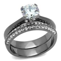HCJ Gray Tone Stainless Steel 1.25 Carat Bridal CZ Wedding Ring Set SIZE... - $22.49