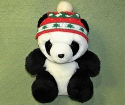 "Vintage Christmas Panda Plush Bear Stuffed Animal 12"" With Pine Tree Knit Hat - $18.51"