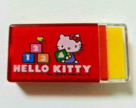 Hello Kitty Eraser in plastic Case 1976' Old SANRIO Retro Cute Rare Red - $25.90