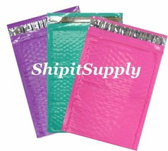 3-600 #000 4x8 (Pink Purple & Teal ) Poly Bubble Padded Mailers Fast Shi... - $3.49+