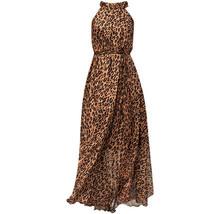 Sleeveless Plus Size Leopard Chiffon Dress Maxi Summer Beach Leopard Dresses image 1