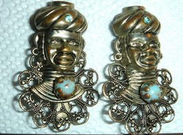 VTG ETHNIC WARRIOR BUST FACES FLOWER TURQUOISE TOPAZ BLACKAMOOR PIN BROO... - $287.99