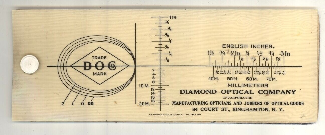 Diamond Optical Co celluloid advertising blotter 1905 antique vintage