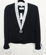 ST. JOHN EVENING Black Jacket with White Silk Chiffon Pleated Trim Sz 6 ... - €281,28 EUR