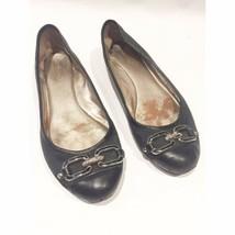 COACH LOGO black leather canvas ballet Flats shoes chain cap toe size 6.5 B - $8.96