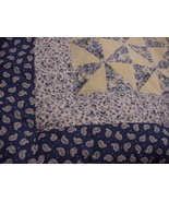 PersonallyByPat Custom Country French Blue Yellow Quilted Baby Comforter - $105.00