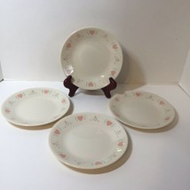 """4 Bread Plates Corelle Forever Yours 6.75"""" Pink Hearts - $12.59"""
