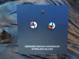 NWT Sterling Silver Native American Zuni Turquoise Inlay Petite Stud Ear... - €20,86 EUR