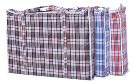 Lot of 12X Jumbo Plastic Checkered Laundry Bags with Zipper and Handles ... - $37.04