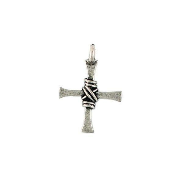 Wire Wrapped Cross Fine Pewter Pendant Charm - 16.5mm L X 24mm W X 1mm D