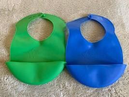 2 Tommee Tippee Boys Easi-Roll Plastic Reusable Bibs Blue Green Crumb Catcher - $9.28