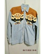 Rivergold Men's Western shirt faux leather  Denim Fabric size small  - $17.59