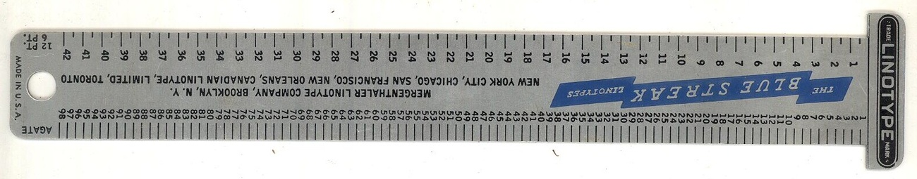 Mergenthaler linotype Co vintage advertising ruler aluminun