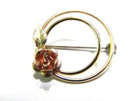 Krementz Rose Circle Vintage Pin Beautiful Quality Jewelry - $16.79
