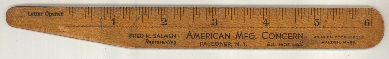 American Mfg Concern vintage advertising ruler gifts toys Falconer NY Salman